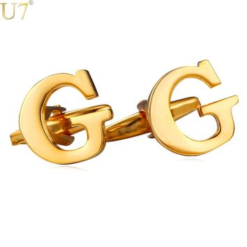 U7 New G Letter Cufflinks Groomsmen Gift Trendy Gold Color Alphabet Cuff Links For Men Jewelry With Box C207