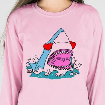 Love Shark Heart Long Sleeve Tee