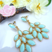 Mint green chandelier gold earrings, mint green peacock fan earrings