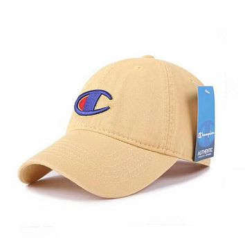 Champion Fashion Women Men Embroidery Sports Sun Hat Baseball Cap Hat High Quality Khaki I-XMCP-YC