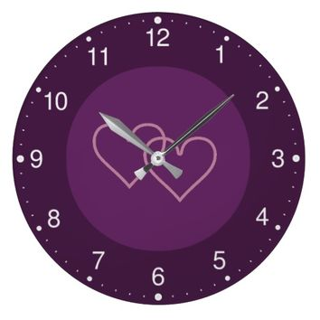 Two blueberry-colored hearts large clock