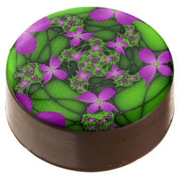 Modern Abstract Neon Pink Green Fractal Flowers Chocolate Covered Oreo