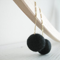 Long studs earrings with black felt wool balls Black bubbles