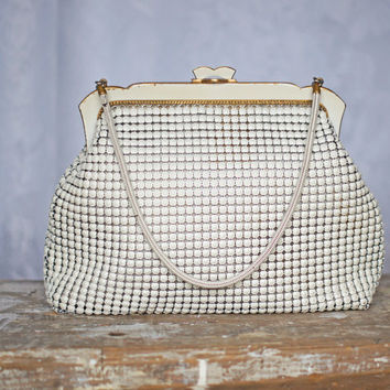 Vintage Oroton Mesh Handbag in Ivory and Gold, circa 1960s-1970s fabulous quality purse, clutch or evening bag