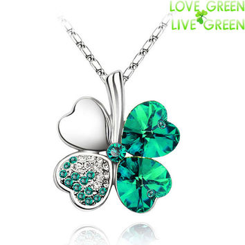 Women's Necklace 18K Fashionable Crystal Clover Mixed 4 Leaf Leaves Chain Pendant Jewelry