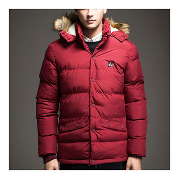 Man Middle Long Cotton Coat Hoodied Warm  red   M