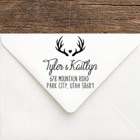 Rustic Antler Address Stamp - Hunt is Over Personalized Antler Return Address Wedding Stamp - Large DIY Rustic Wedding Invitation Stamp