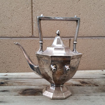Vintage Teapot Hand Hammered Silver Plate HERALDIC 1847 Rodgers Bros.