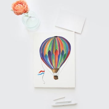 Watercolor Hot Air Balloon card, hand painted gift card, DIY printable, Watercolour Rainbow Hot Air Balloon greeting card, blank card, 8x5