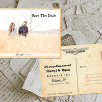"Wedding Save The Date Card - Barnyard Vintage Photo Personalized 4""x6"" - 50 Prints"