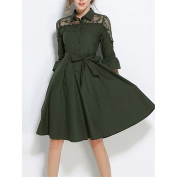 Mesh Yoke Tie Waist Shirt Dress
