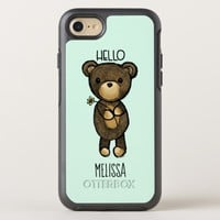 Cute Brown Bear Holding a Yellow Flower OtterBox Symmetry iPhone 8/7 Case