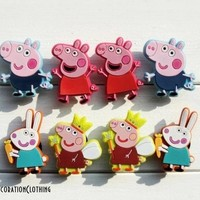8 Pcs Peppa Pig Shoe Charms Pvc Fit Buckles And Bracelets Lovely Buckle Accessories Decoration Party Cartoon Croc Jibbitz Kids Gift