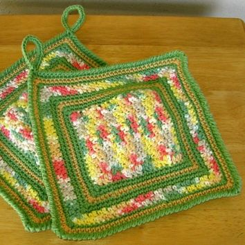 Sage Garden Pot Holder Set of 2 - Handmade Crocheted Yarn Decor