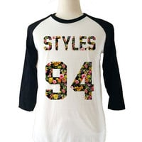 Harry Styles Floral Long Sleeve 3/4 Baseball T-Shirt
