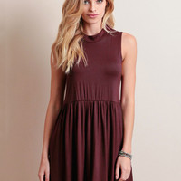 Wine Red Sleeveless Mini Dress