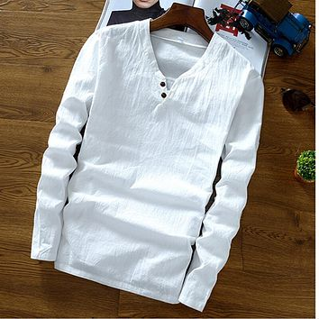2018 Autumn men's long sleeve mandarin collar cotton linen shirts,Plus size M-6XL 7XL Spring linen blouse Black blue white shirt