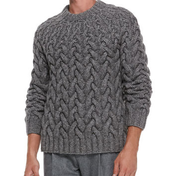 Men's Chunky Cable-Knit Sweater - Michael Kors - Gray