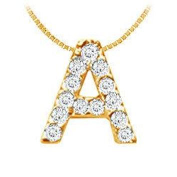 Classic A Initial Diamond Pendant : 14K Yellow Gold - 0.15 CT Diamonds