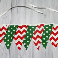 Holiday Banner. Red chevron, green and white dots. 7 pennant bunting.