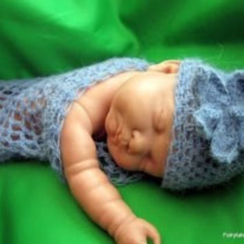 Baby wrap, cocoon, baby nest, Blanket and Hat hand crochet mohair phot prop gift