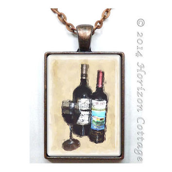 Unwind with Wine - Altered Art Pendant - Hostess Gift - Wine Lover