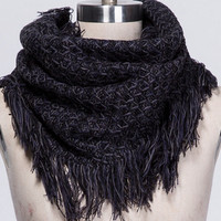 2015 Warm Knit Black Plaid Scarf with Tassel