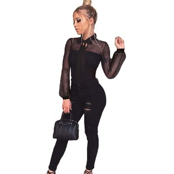 YJSFG HOUSE Bodysuit Women Black Body Suits for Women Sexy Romper Black Long Sleeve Hollow Out Mesh Bodysuit Catsuit