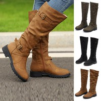 New Autumn Winter Womens Knee High Calf Biker Sexy Boots Ladies Zip Punk Military Combat Army Boots party Women's Shoes 2018