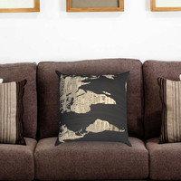 World Map Old Newspaper Pillow Cover , Custom Zippered Pillow Case One Side Two Sides