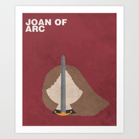 Joan of Arc:  Minimalist Poster Art Print by Idle Amusement