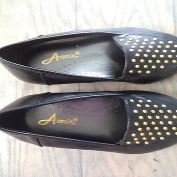 Vintage Black flats with GOLD Studs ~ Annie Woman's 7