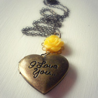 I Love You Locket Charm Necklace with Yellow Rose