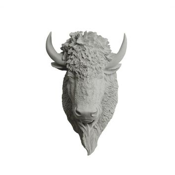 The Yellowstone | Large Buffalo Bison Head | Faux Taxidermy | Gray Resin