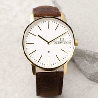 McCoy Road Nine30 Gold and Brown Leather Watch