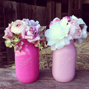 Mason Jar Centerpiece Pink Mason Jar Country Wedding Mason Jar Wedding Centerpiece Mason Jar Bridal Shower Girl Baby Shower Centerpiece
