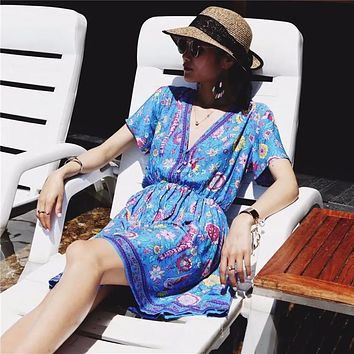 Holiday Bohemian Beach Peacock Print Short Sleeve dress