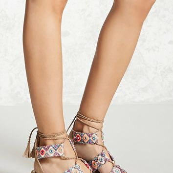 Embroidered Ankle-Wrap Heels