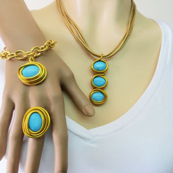 Blue Gold Jewelry, Blue Gold Set, Gold Jewelry, December Birthstone, Turquoise Statement, Every day Jewelry, Stone Jewelry, Gigt For Her,