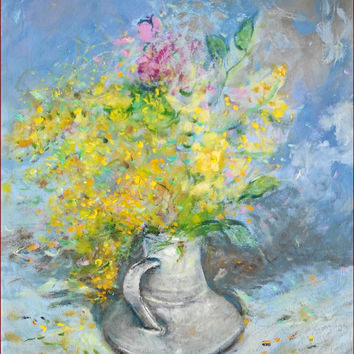 Mimosa yellow flowers romantic art of biagio Chiesi original Italian painting Italy - Dipinto quadro Mimose