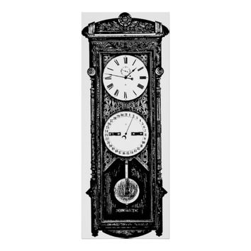 Antique Grandfather Clock Black and White Art Poster