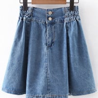 Blue Elastic High Waist Zipper Denim Skirt