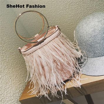 Women 2018 Feather High Quality PU Leather Metal Ring Tote Shoulder Bag