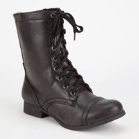 Soda Relax Combat Womens Boots Black  In Sizes
