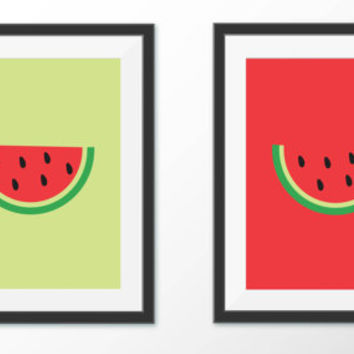 Watermelon Wall Art - Summer Home Decor - Printable Kitchen Art -Digital Prints - Summer Fruit Art - Digital Download - Graphic Design