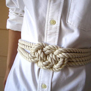 Cotton rope sailor knot belt by TeaAccessories on Etsy