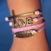 Charm Bracelet 217: Leather Braid Bracelet Believe Bracelet, Cross Bracelet, Love Bracelet, Fashion Bracelet