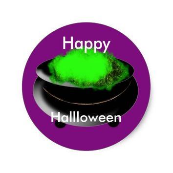 Happy Halloween Hubble Bubble Witches Cauldron Classic Round Sticker