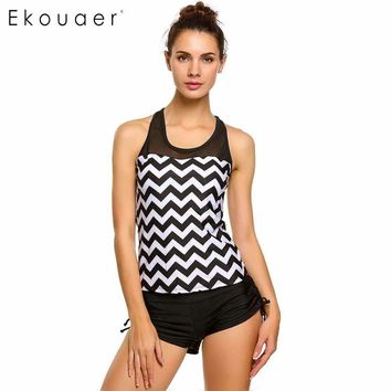 Ekouaer Plus Size Swimwear Women Bikini 2017 Sexy Racerback Tankini Top with Adjustable Tie Boyshort Swimsuit Swim Bathing Suits