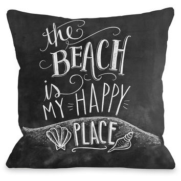 """The Beach Is My Happy Place"" Indoor Throw Pillow by Lily & Val, 16""x16"""